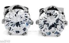 On Stud Earrings Men Women 4mm 10mm Clear Round Cz Cubic Zirconia Magnetic Clip