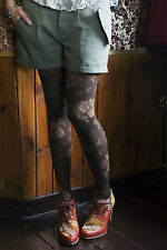 "Bonnie Doon ""roses tights"" - collant taille s Navy NEUF"