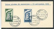 1956 ITALIA FDC EUROPA - FRANCOBOLLI APPLICATI SU CARTONCINO - 3