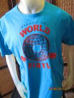 * Mens Size Large L Cremieux Blue VINYL ALBUM Screen Print T- Shirt 100% Cotton