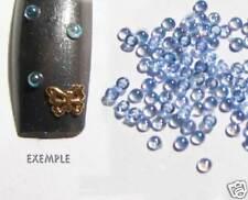 100 bijoux d'ongles strass DEMI BULLE Irisée Bleu Nail Art 2mm