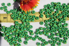 5/0 Seed Beads Green w/Yellow  Stripes Limited /28 grams