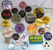 Lot of 25 Vintage Pinbacks Pins Buttons Tnt Jesus dirty dancing cowboys robin