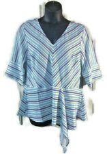 NEW Eloquii Blouse striped peplum draped hem Top Work Plus Size 14 v-neck