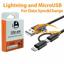 2in1 micro USB Lightning Sync données câble de charge pour IOS9 iPhone Android