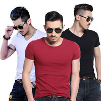 Men Fashion Casual Solid Short Sleeve Slim Fit Cotton Crew Neck V-Neck T-shirt