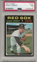 1971 TOPPS #710 SONNY SIEBERT, PSA 7 NM, BOSTON RED SOX, HIGH NUMBER, L@@K !