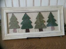 Sweet Primitive Framed Christmas Trees in Painted Wood Frame - Winter/Holiday
