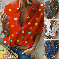 Women's Blouse Classic V Neck Polka Dot Shirts Roll Up Sleeve Blouses Tops GIFT