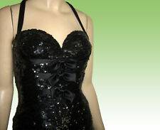 80s UNWORN Fully Sequined Mini Dress Bust 33 by NITELINE DELLA ROUFOGALI Black