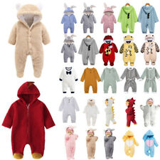 Infant Baby Boys Girl Hooded Romper Kids Jumpsuit Bodysuit Warmer Outfit Clothes