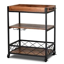 AndiBlades INTERIORS Rustic Rolling Kitchen Trolley with Storage