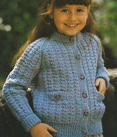 "Girls Jacket/Cardigan with pockets Knitting Pattern in DK 22-32"" 933"