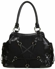 Banned Pentagram Illuminati Large Straps Rockabilly Punk Gothic Handbag BLACK