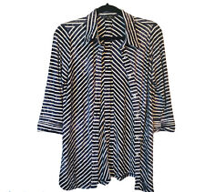 BOHO Chic Sz M Open Front And Back Button Elbow Ridge Sleeve Strip Viscose Shirt