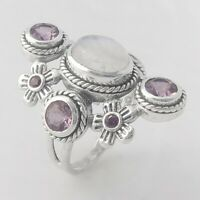 Rainbow Moonstone & Amethyst 925 Sterling Silver Ring - ANY SIZE