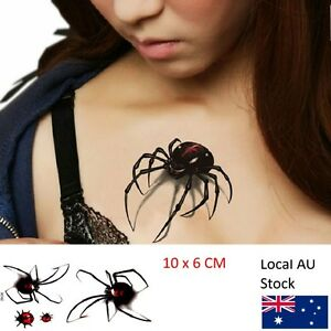 Halloween Waterproof Tattoo Sticker 3d Color Spider Insect Temporary Tato Scary