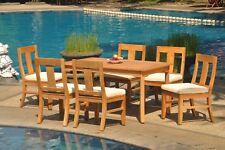 "7pc Grade-A Teak Dining Set 60"" Rectangle Table 6 Osborne Armless Chair Outdoor"