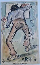 "Artist at Easel 5 1/2"" x 3 1/4"" Watercolor Painting-1902-Walt Kuhn"