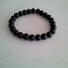 Glass Pearl Black Beaded Stretch Bracelet