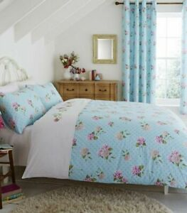 EMBROIDERED FLORAL DUCK EGG SINGLE DOUBLE KING DUVET SET CATHERINE LANSFIELD