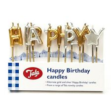 Happy Birthday Candles Gold and SIlver Party Celebration Cake Toppers