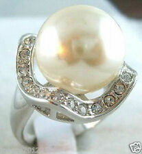 14MM Big White Shell Pearl Solid silver Ring size: 7-9#
