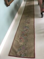 Very Long Antique Hand Hooked WOOL Rug Floral Bouquet  2 X 15.5 Runner