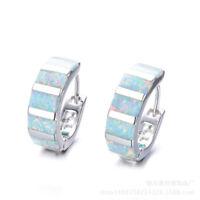 Fashion Silver White Imitation Opal Hoop Earrings for Women Wedding Jewelry