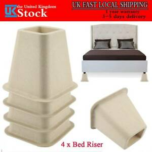 4X Heavy Duty Bed Chair Risers Feet Leg Lift Furniture Extra Raisers Stand 6inch