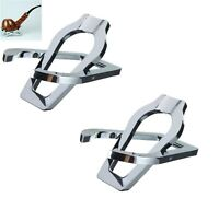 2 Pack Stainless Steel Foldable Pocket Tobacco Pipe Holder Stand Rack