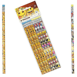 8 x Emoji Pencils Kid's Party Bag Filler Stocking Filler Gift Loot Bag School