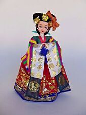 """Korean Doll Figurine With Traditional Colorful Hanbok Attire 10"""" Tall"""