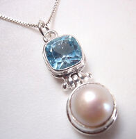 Cultured Pearl and Faceted Blue Topaz 925 Sterling Silver Pendant Corona Sun