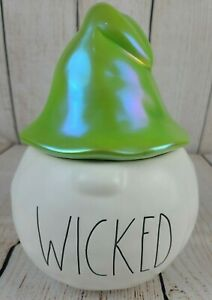 NEW Rae Dunn WICKED Cream Green Luster Iridescent Halloween Pumpkin Witch Gnome