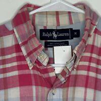 Ralph Lauren Vintage Mens Shirt Logo Plaid Pink LS Medium