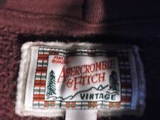 WOMENS ABERCROMBIE & FITCH VINTAGE MAROON RED HOODED PULL-OVER HOODIE MEDIUM