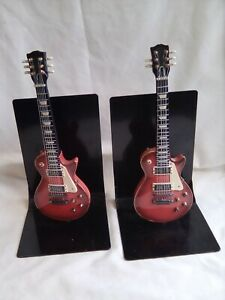 Ceramic Guitar  Bookends on Metal Stands