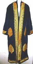 Uzbek Chopon mans Dark Blue Gold handicraft embroidery chopon quilted robe 2XL