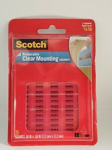 Scotch Removable Clear Mounting Squares Double Sided Adhesive 35ct.