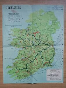 CIE IRELAND RAILWAY SERVICES MAP 1950's - SHOWS BUS, RAIL, AIR AND SHIP ROUTES