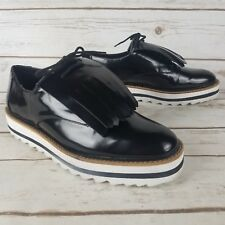 067c59660e1 Zara Black Big Kiltie Fringe Platform Lace Oxford Derby Dress Shoe Eur 39  US 8