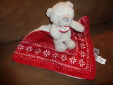 Blanket Bear Red White Baby Security Lovey Rattle Carters Stuffed Plush Alpine