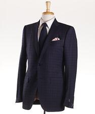 NWT $3095 ERMENEGILDO ZEGNA Navy Blue Check Wool Suit 38 L Slim 'Fit Torino'