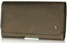 Horizontal Matte Pouch with Magnetic Closure for Samsung Galaxy S4 i9500 - Brown