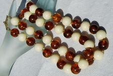 Vintage Faux Amber  and Cream Lucite Double Strand Necklace