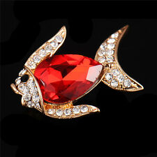 Beautiful Gold Plated Red Clear Rhinestone Crystal Fish Shape Statement Brooch