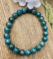 20g LOVELY BLUE/GREEN APATITE CRYSTAL BEAD HEALING BRACELET  Reiki  NORWAY