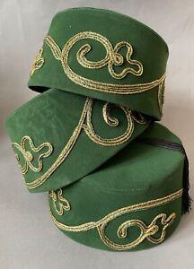Khaki Fez Hat, Genuine & Authentic Turkish Fes, Ottoman Tarboosh w Gold Trim