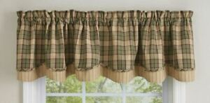 """Sequoia Sage Brown Tan Plaid Rustic Country Lined Layered Valance 72"""" x 16"""""""